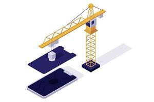 isometrische telefoonreparatie vector