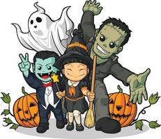 halloween monster cartoon. heks, vampier, spookkostuum vector tekening