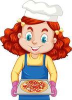 chef-kok meisje stripfiguur pizza lade te houden
