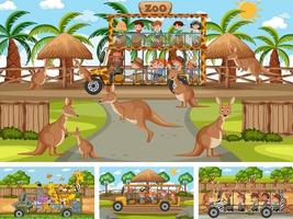 vier verschillende dierentuintaferelen met kinderen en dieren vector