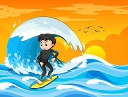 grote golf in de oceaanscène met jongen die zich op een surfplank bevindt vector