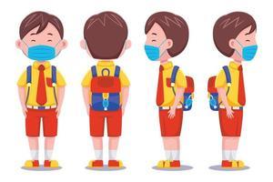schattige schooljongen die een gezichtsmasker draagt vector