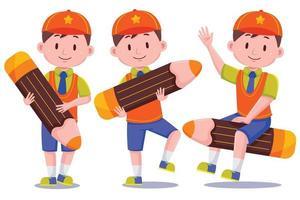 schattige schooljongen met hoed en potlood vector