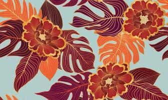 naadloze bloemmotief met tropische bladeren en bloemen. natuur weelderige achtergrond. bloeit tuintextuur met lijntekeningenbladeren vector