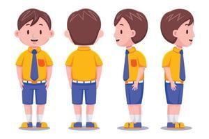 schattige schooljongen set vector
