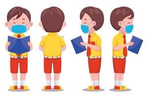schattige schooljongen met gezichtsmasker set vector