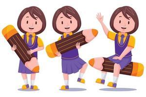 schattig schoolmeisje met potlood set vector