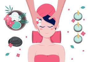 massage vectorillustratie in schoonheidssalon vector