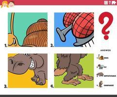 denk dat cartoon dierlijke karakters educatief spel voor kinderen vector