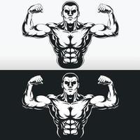silhouet bodybuilding voorkant dubbele biceps pose, stencil vector tekening