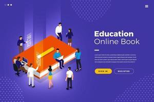 onderwijs online boek vector