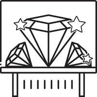 lijn pictogram voor diamant