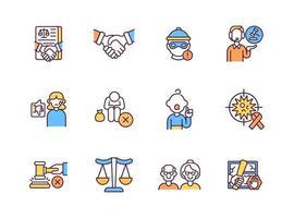 juridische diensten RGB-kleur iconen set