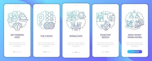 probleemoplossende methoden marine onboarding mobiele app-paginascherm met concepten