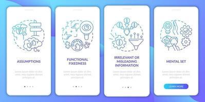 probleemoplossende obstakels marine onboarding mobiele app-paginascherm met concepten