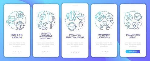 probleemoplossende stappen marine onboarding mobiele app-paginascherm met concepten