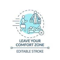 verlaat je comfortzone turquoise concept-pictogram