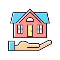huis verzekering rgb kleur pictogram
