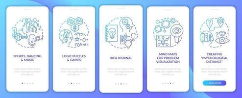 het verbeteren van probleemoplossende vaardigheidstips navy onboarding mobiele app-paginascherm met concepten