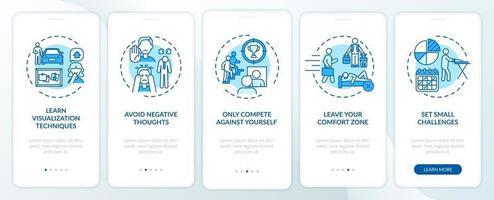 zelfverbeteringstools blauw onboarding mobiele app-paginascherm met concepten