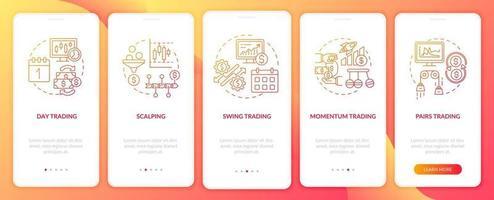 aandelenhandelstrategieën aan boord van het scherm van de mobiele app-pagina met concepten