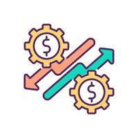 economische opleving en neergang RGB-kleur pictogram