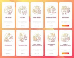 voorraden investeringen onboarding mobiele app paginascherm met concepten ingesteld