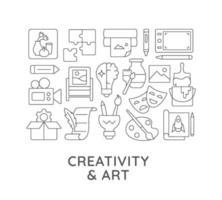 creativiteit en kunst abstracte lineaire conceptlay-out met kop vector