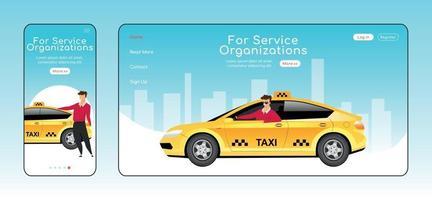 voor serviceorganisaties responsieve bestemmingspagina platte vector sjabloon set
