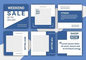 ig puzzel mode verkoop sociale media post ontwerpsjabloon met blauwe en witte kleur. creatief sjabloonontwerp voor sociale media webbanner en web vierkante banner. vectorillustratie met foto college vector