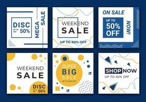 reclame-ontwerpachtergronden voor banner voor sociale media. set feedpost frame-sjablonen. mockup voor persoonlijke blog of winkel. blauwe en witte achtergrond kleur vorm vectorillustratie vector
