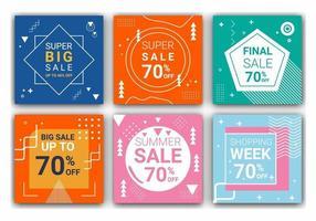 6 vierkante indelingssjablonen voor post, mobiele apps of bannerontwerp. promotionele webbanner voor sociale media voor modeverkoop. elegante verkoop en kortingspromo. vector illustratie.