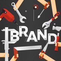 plat ontwerpconcept merkconstructie bouwen met zakenman bovenaan als leider. vector illustratie.