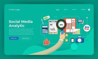 mock-up ontwerp website plat ontwerpconcept digitale marketing. analyse van sociale media. vector illustratie.