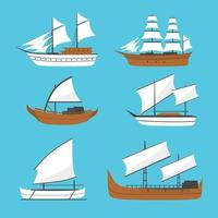 vector platte zeilboot, schip pictogram, set. oud houten schip met witte zeilen. phinisi-schip, barqque sadov-schip, patorani-schip, reizen per zeevervoer, traditioneel Aziatisch zeeschip.