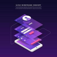 ux ui stroomdiagram. mock-ups mobiele applicatie concept isometrisch plat ontwerp. vector illustratie.