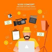 plat ontwerp vlog-concept. maak videocontent en verdien geld. vector illustreren