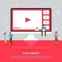 platte ontwerpconcept vlog. team ontwikkelt kanaalvideo online. vector illustreren.
