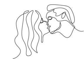 continu een lijntekening van elkaar willen kussen. jong romantisch koppel verliefd en toont hun emoties. goed voor valentijnsbanner. vector illustratie minimalisme stijl.