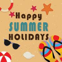 gelukkige zomervakantie vectorillustratie met strandzand vector
