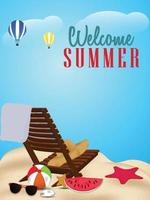 zomervakantie kaart met strandbal en stoel en paraplu