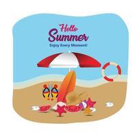zomervakantie kaart met strandbal en stoel en paraplu vector