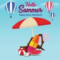 zomervakantie achtergrond met creatieve vectorillustratie en achtergrond vector