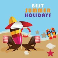 zomertijd achtergrond met strandstoel en bal vector