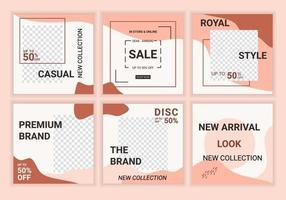 6 set bewerkbare moderne minimale vierkante bannersjablonen. vrouwelijk ontwerp puzzel achtergronden in minimale stijl met pastelroze. geschikt voor verkooppromotie op sociale media en internetadvertenties