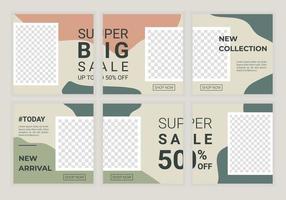 verzameling van vierkante bannerlay-out instellen in ontwerpelement in zachte pastelkleuren. moderne bewerkbare puzzel sjabloonontwerp voor sociale media plaatsen, webbanners, flyer, brochure, enz. vectorillustratie vector