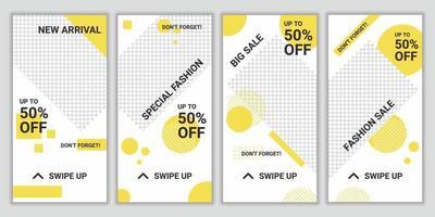 set van elegante mode-stijl sociale media postsjabloon, promo, korting, verkoop. lay-out voor zakelijk verhaal nieuwe aankomst, nieuwe collectie. ontwerp achtergrond voor reclame voor merkmode vector