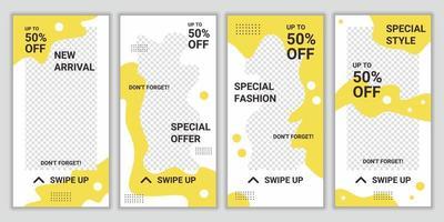 set van bewerkbare vierkante banners sjabloonontwerp voor mode verkoop sociale media verhalen. gele en witte kleur vorm achtergrond. grote verkooppromotie. vector reclame korting te koop.