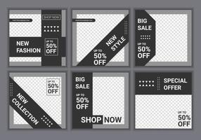 een set van zes bewerkbare vierkante sjablonen voor posts op sociale media in een elegante grijze en zwarte kleur. mode verkoop promotie, speciale aanbieding en nieuwe aankomst. minimaal ontwerp achtergrond vectorillustratie vector
