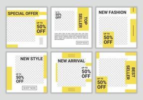 set van frisse kleuren social media postsjabloon, promo, korting, verkoop. bewerkbare verzamelingsachtergronden met gele en witte kleurencombinatie. vector illustratie. iedereen kan dit ontwerp gemakkelijk gebruiken.